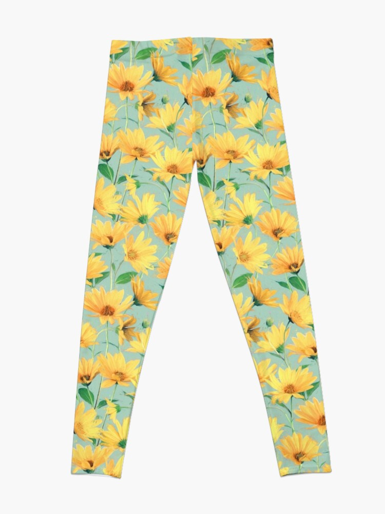 Alternate view of Painted Golden Yellow Daisies on soft sage green Leggings