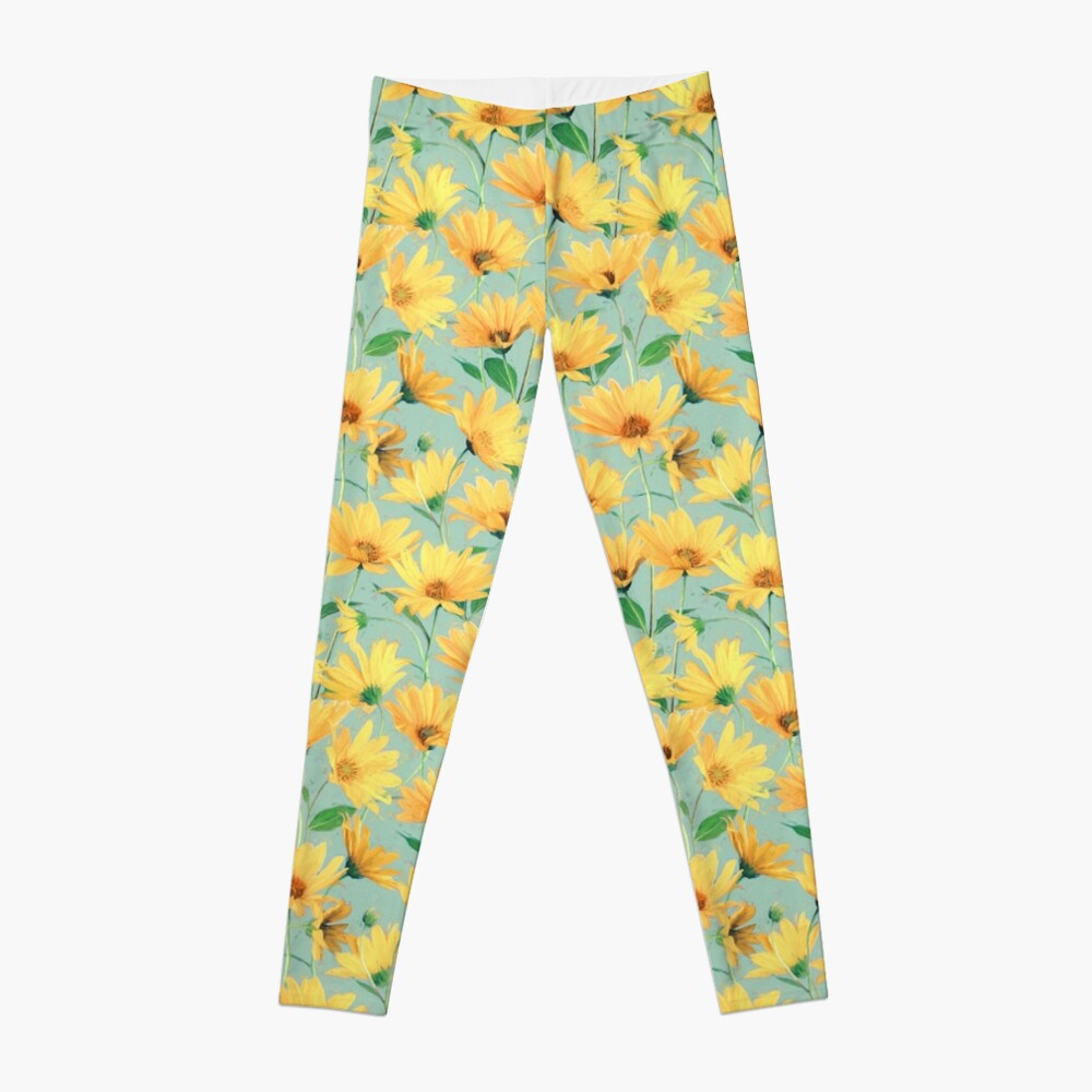 Painted Golden Yellow Daisies on soft sage green Leggings
