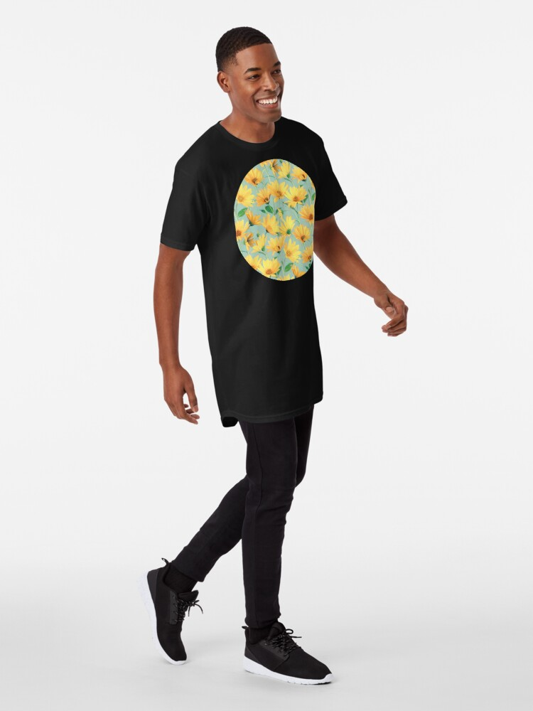 Alternate view of Painted Golden Yellow Daisies on soft sage green Long T-Shirt