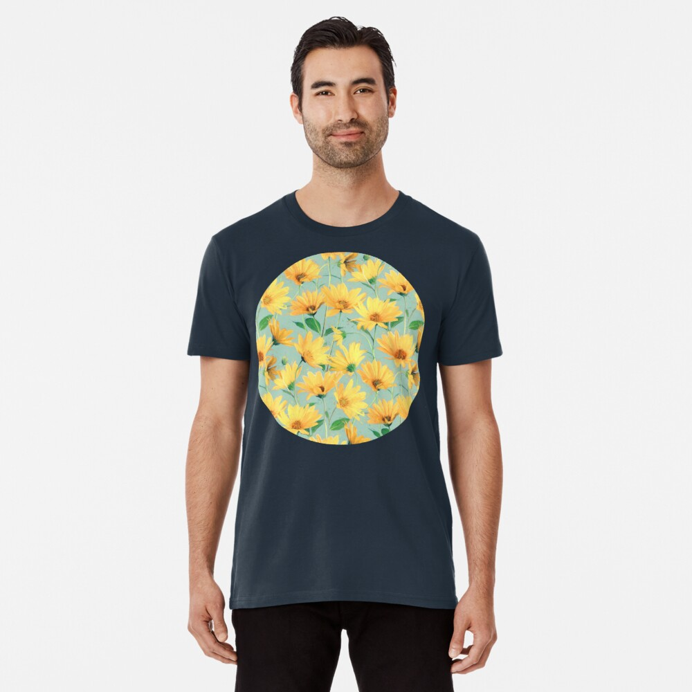 Painted Golden Yellow Daisies on soft sage green Premium T-Shirt