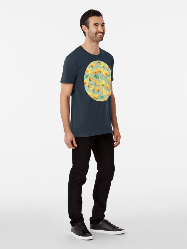 Alternate view of Painted Golden Yellow Daisies on soft sage green Premium T-Shirt