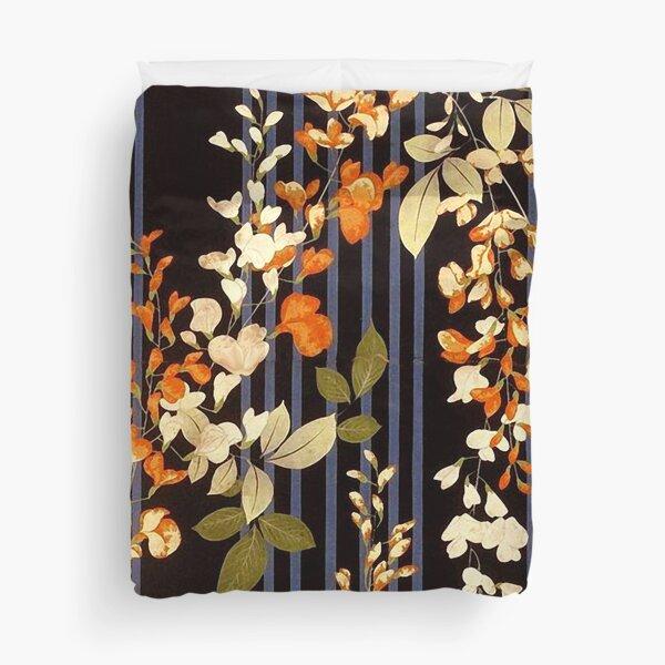 WHITE ORANGE FLOWERS AND BLUE BLACK STRIPES Antique Japanese Floral Duvet Cover