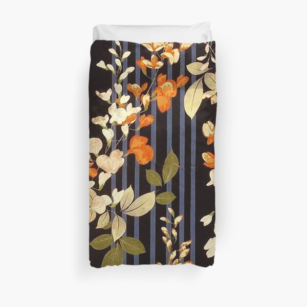 FLORES NARANJAS BLANCAS Y RAYAS NEGRAS AZULES Flores japonesas antiguas Funda nórdica