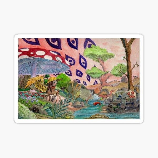Engel unter einem Pilz an einem Fluss unter einem roten Himmel mit Augen Sticker