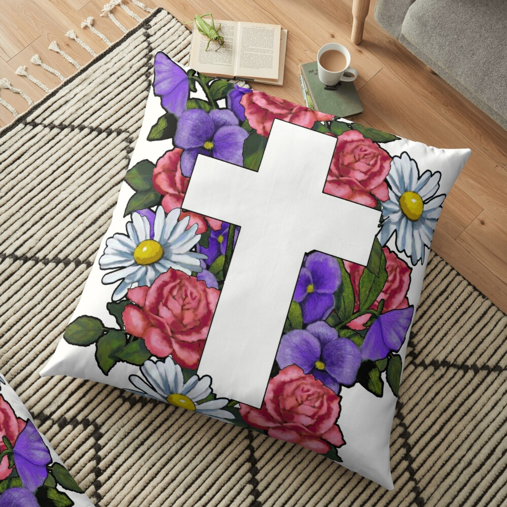 Christian Cross With Flowers Art Religious Floor Pillow By Joyce Redbubble