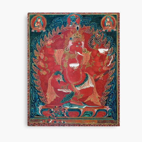 Dancing Red Ganapati of the Three Red Deities 15th Century Textile, Tibet Canvas Print
