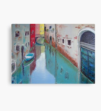 A narrow canal in Venice Canvas Print