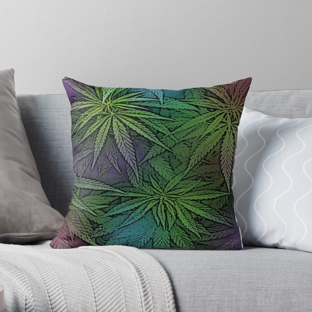 Green Purple and Blue Cannabis Marijuana Pot Ganja 420 Throw Pillow