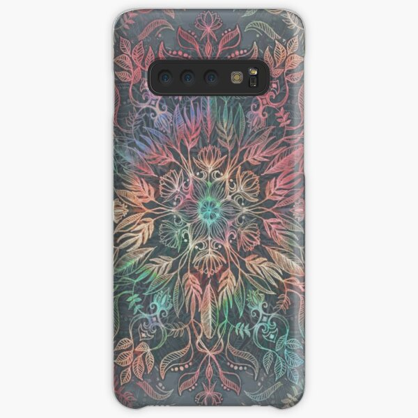 Winter Sunset Mandala in Charcoal, Mint and Melon Samsung Galaxy Snap Case