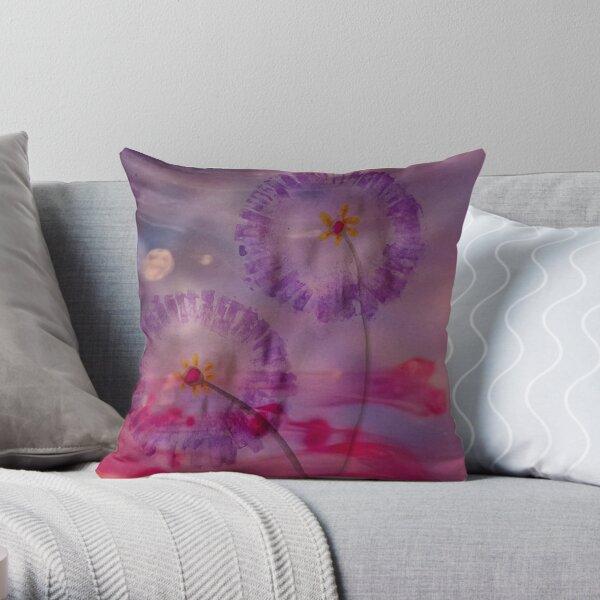 Purple Flower Dream Throw Pillow