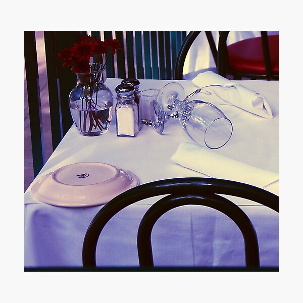Glasses on a dining table Photographic Print