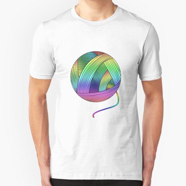 Rainbow Yarn Ball! Slim Fit T-Shirt