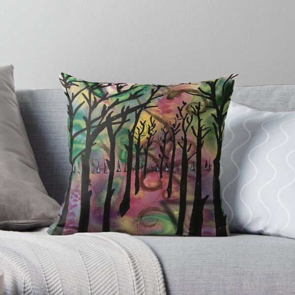 Tall dark trees abstract Throw Pillow