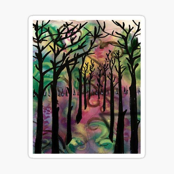 Tall dark trees abstract Sticker