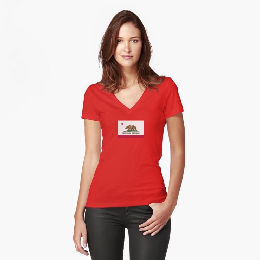 California USA State Flag Bedspread Duvet T-Shirt - Californian Sticker Women's Fitted V-Neck T-Shirt Front