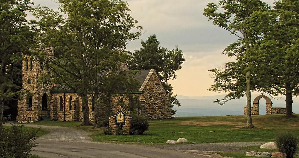 Evening Mountaintop Church by Pamela Phelps