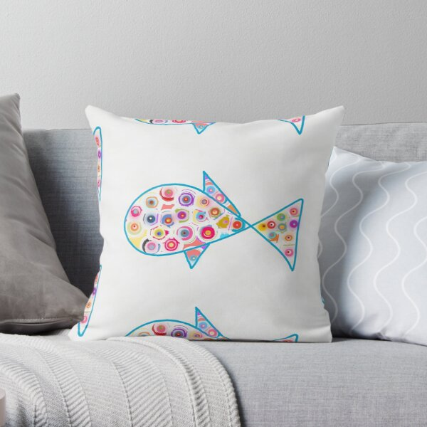 Color Fish Love Throw Pillow