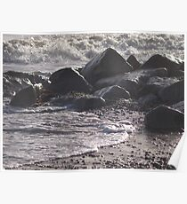 Water & Rocks at Mudeford Poster