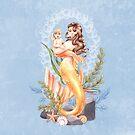 Goldene Meerjungfrau Mutter und Baby von LCWaterworth