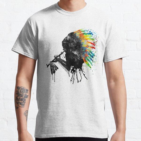 Silhouette indienne avec coiffe colorée T-shirt classique