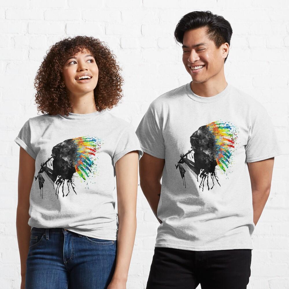 T-shirt classique «Silhouette indienne avec coiffe colorée»