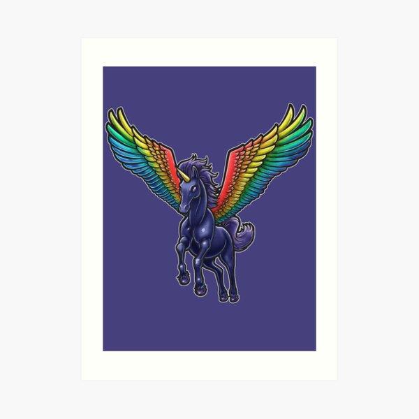 Black Pegasus Unicorn Art Print
