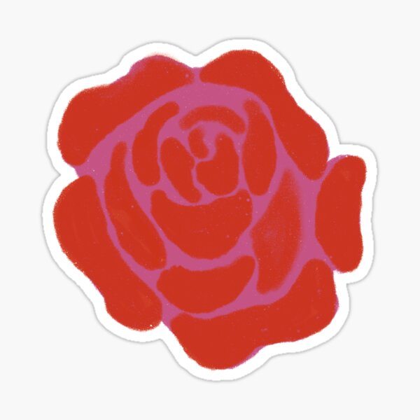 Single Purple and Red Rose Sticker