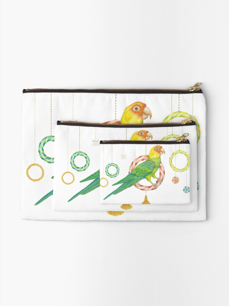 Alternate view of Candy Carolina Parakeet Zipper Pouch