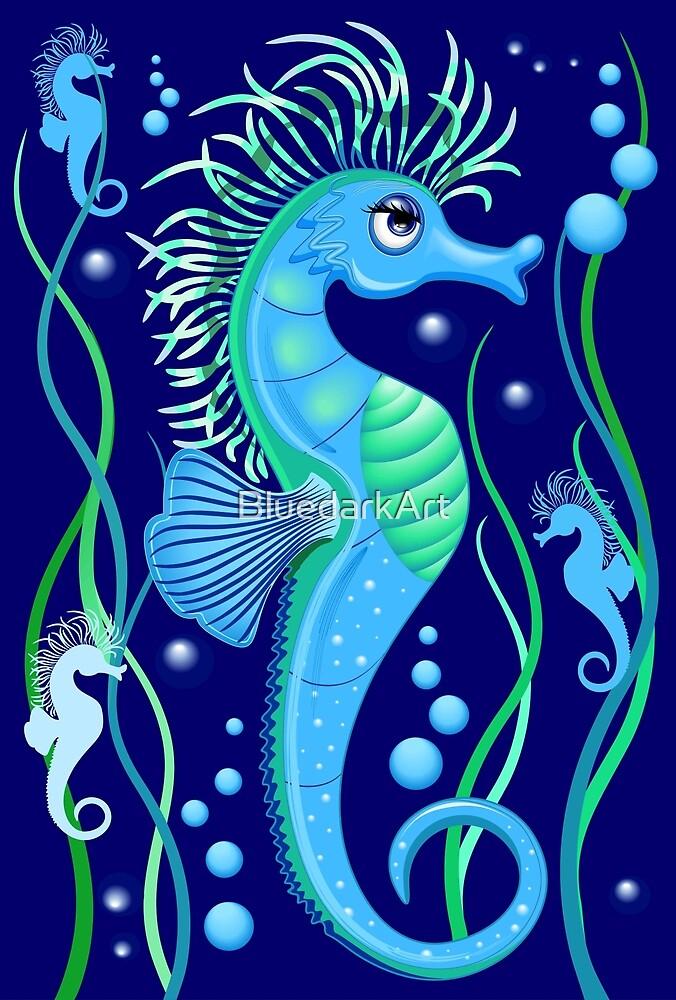 Seahorse cute blue sea animal Vector Seamless Pattern Textile Design by BluedarkArt