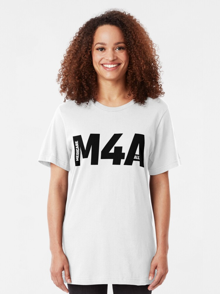 Alternate view of M4A - Medicare For All Slim Fit T-Shirt