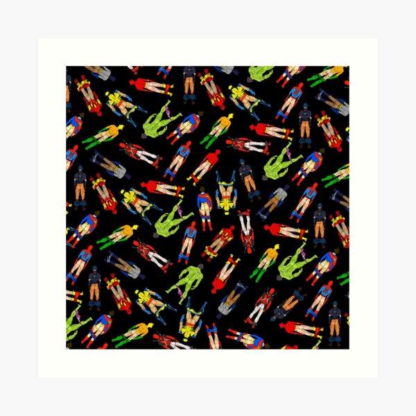 Superhero Butts Pattern on Black Art Print