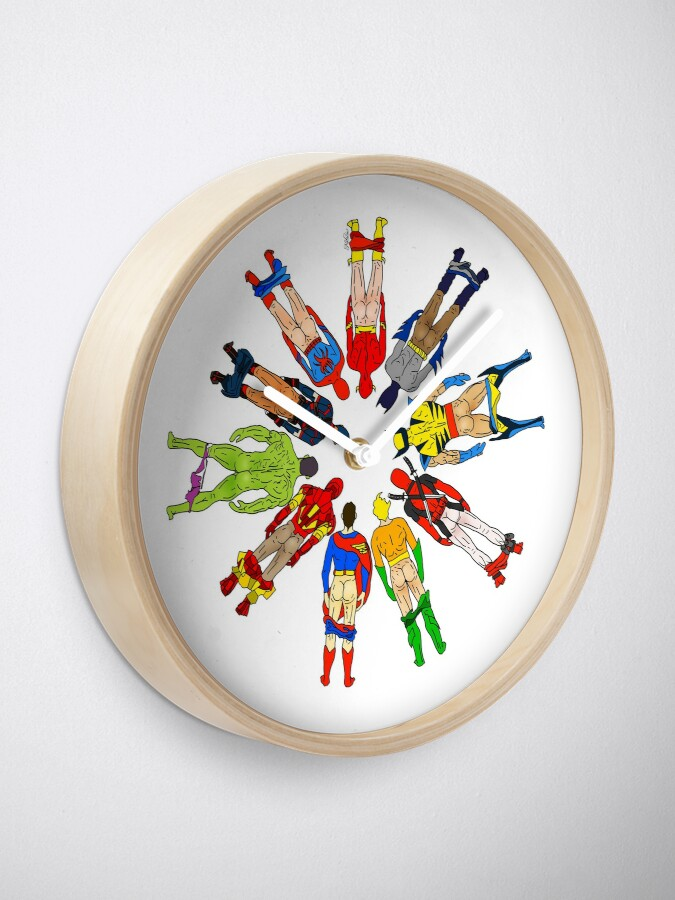 Alternate view of Superhero Butts Clock