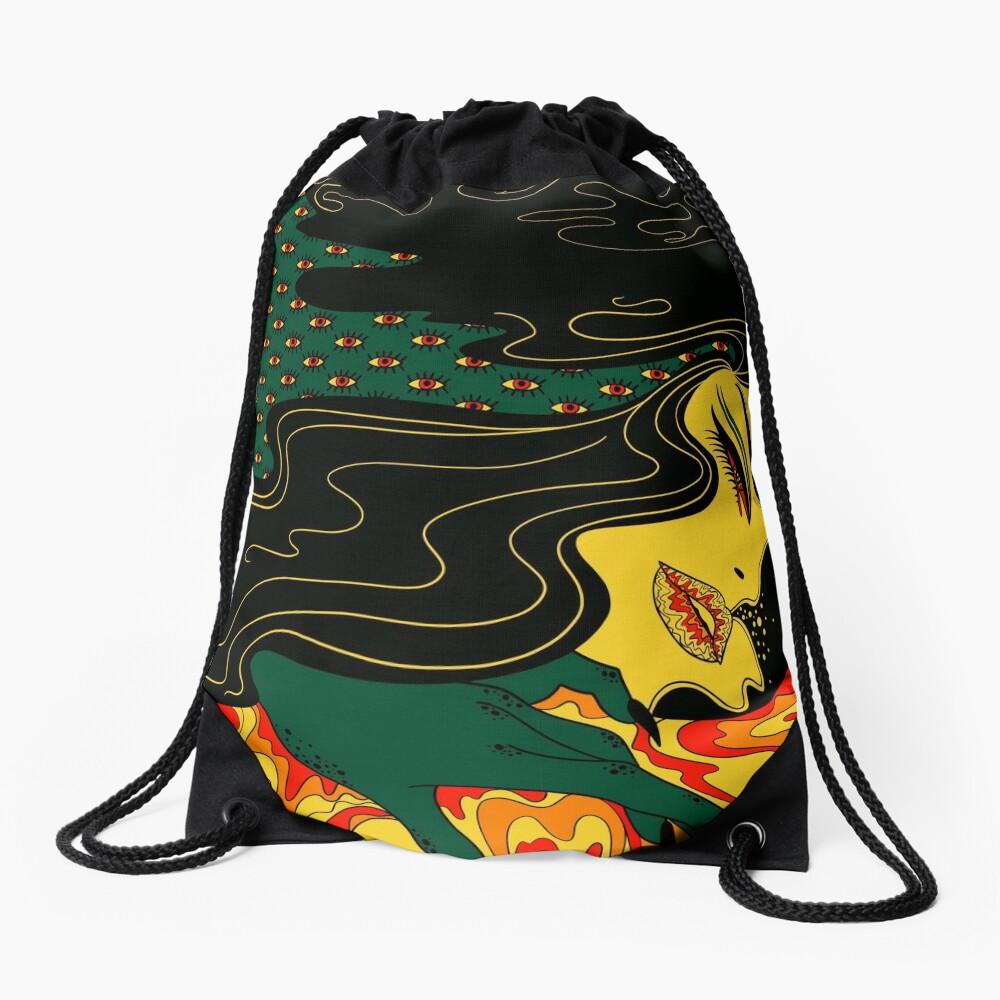 Surreal Lady Drawstring Bag