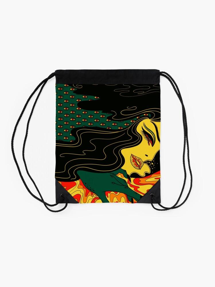Alternate view of Surreal Lady Drawstring Bag