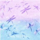 Lavender and Blue Dragonfly Pattern by SandAndChi