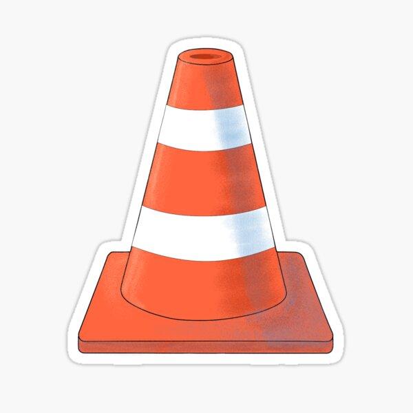 Cute orange and white Safety Cone. Sticker