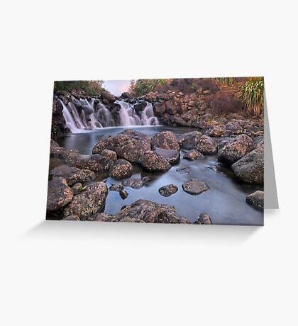 Waterfall Sunset Greeting Card