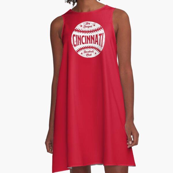 Cincinnati Retro Big League Baseball - Red A-Line Dress