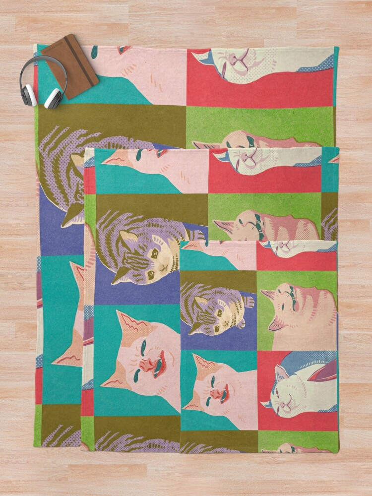 Alternate view of Four Meme Cats of the Apocalypse Throw Blanket