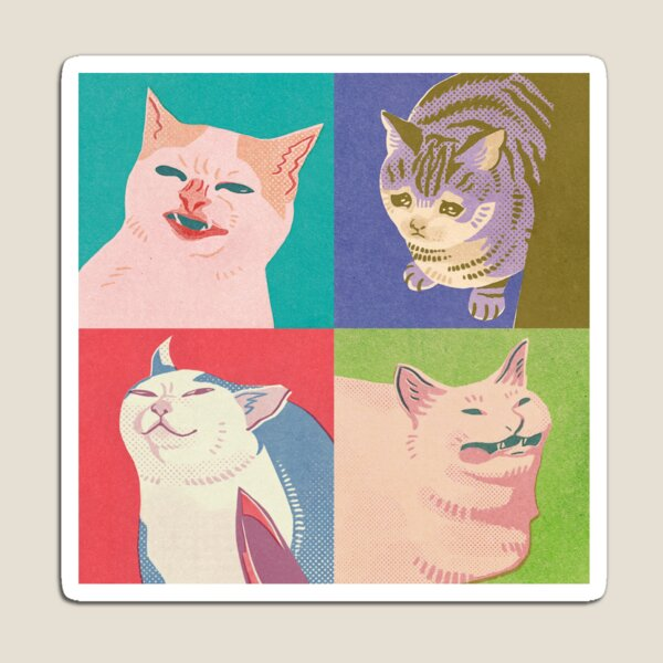 Four Meme Cats of the Apocalypse Magnet
