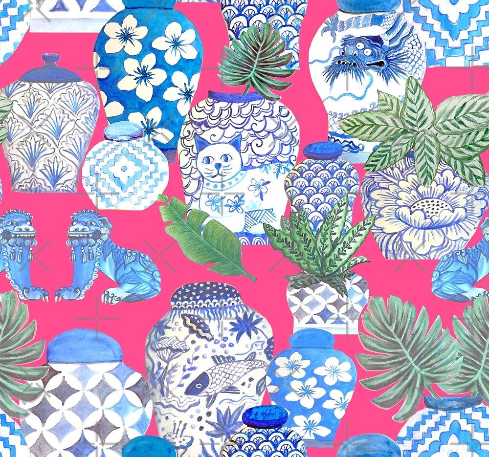 Blue and white china Chinese ginger jars on hot pink, watercolor Chinoiserie by MagentaRose