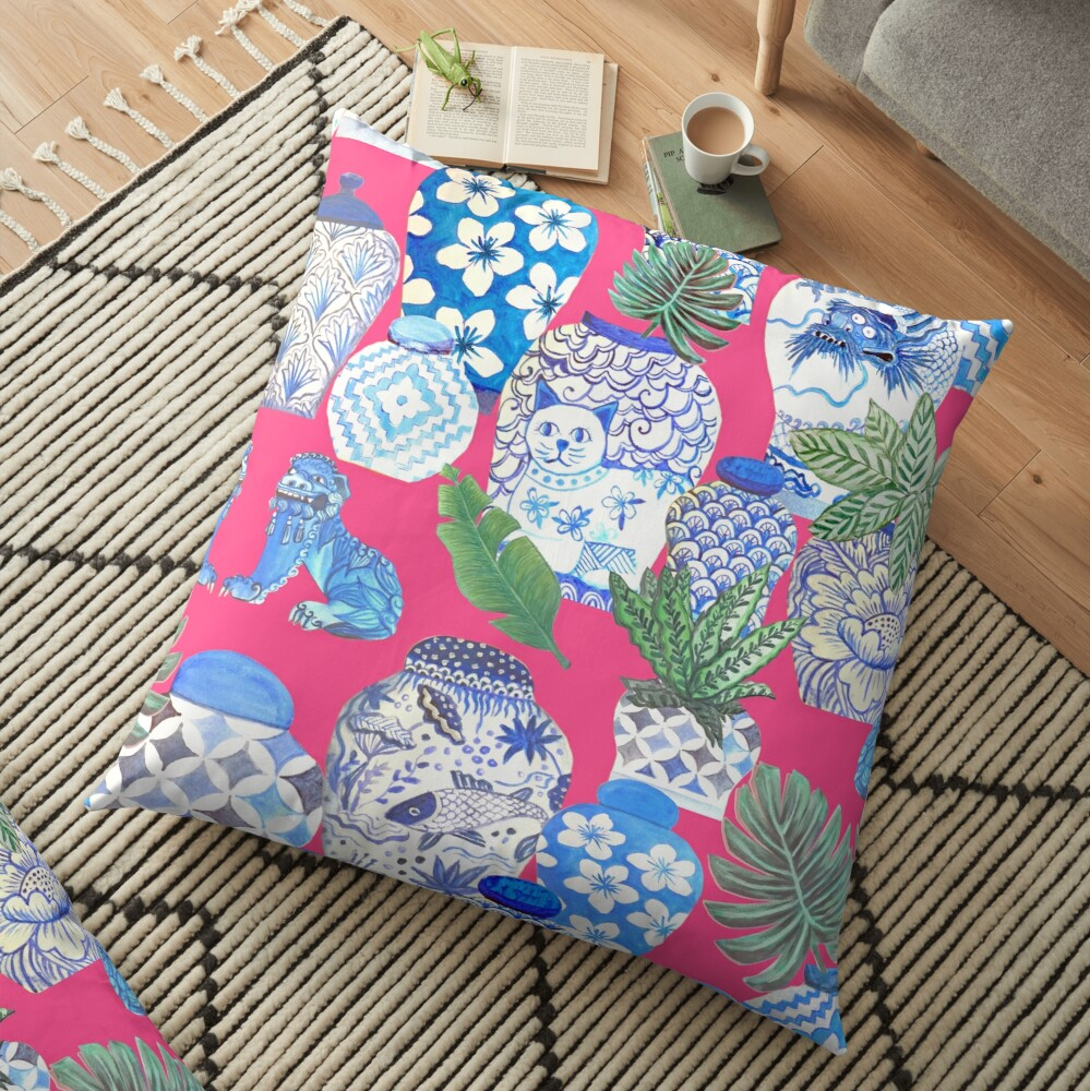 Blue and white china Chinese ginger jars on hot pink, watercolor Chinoiserie Floor Pillow