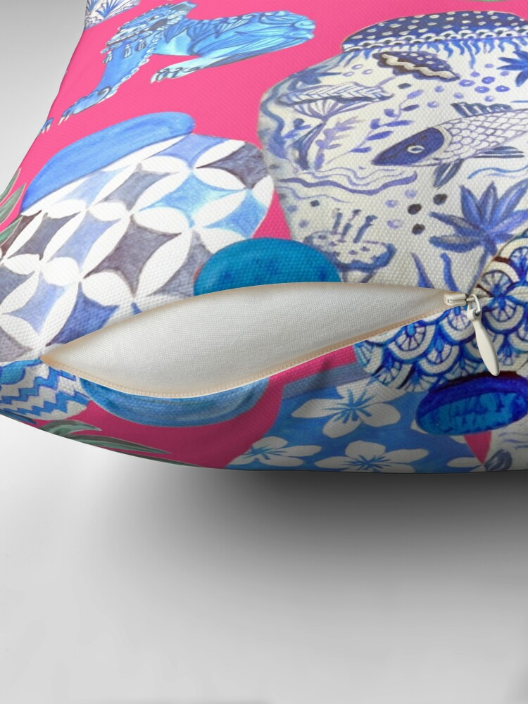 Alternate view of Blue and white china Chinese ginger jars on hot pink, watercolor Chinoiserie Floor Pillow