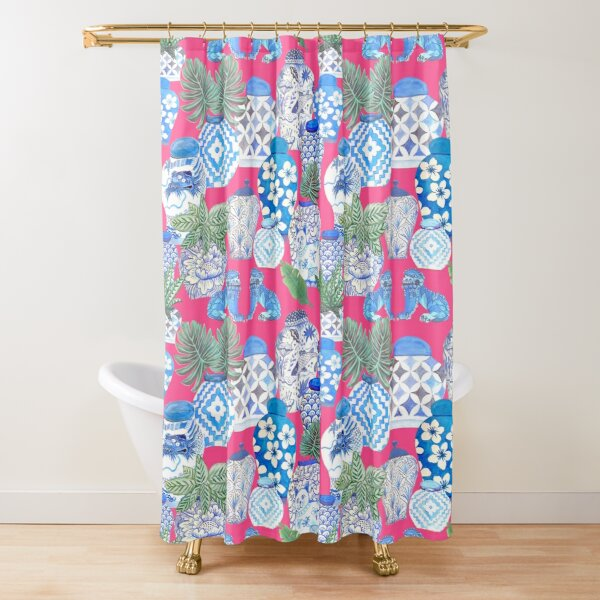 Blue and white china Chinese ginger jars on hot pink, watercolor Chinoiserie Shower Curtain