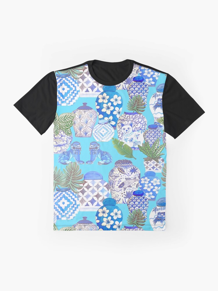 Alternate view of Chinese ginger jars with foo dogs on teal Graphic T-Shirt