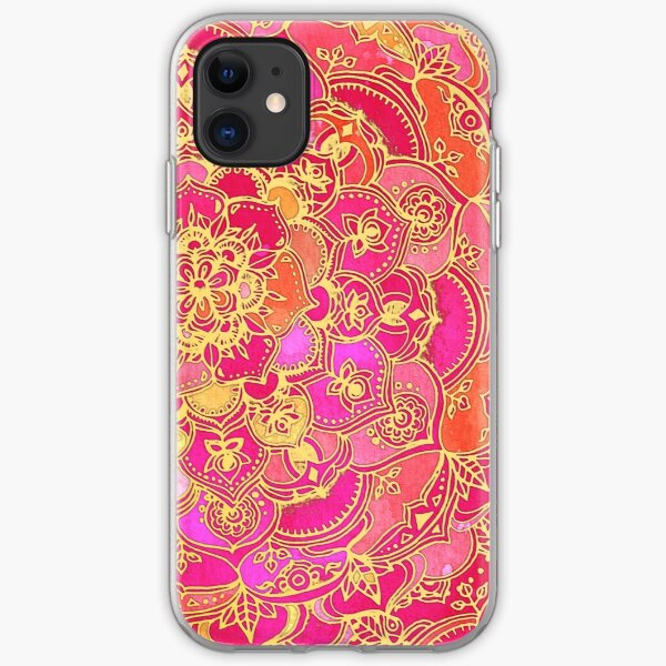 Hot Pink and Gold Baroque Floral Pattern iPhone Soft Case