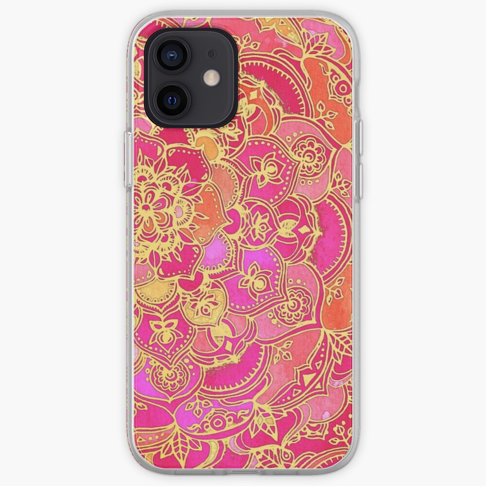 Hot Pink and Gold Baroque Floral Pattern iPhone Case & Cover