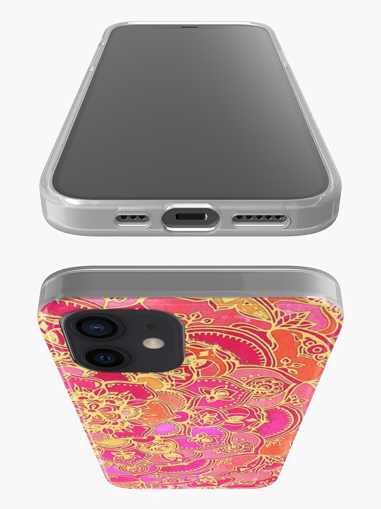Alternate view of Hot Pink and Gold Baroque Floral Pattern iPhone Case & Cover
