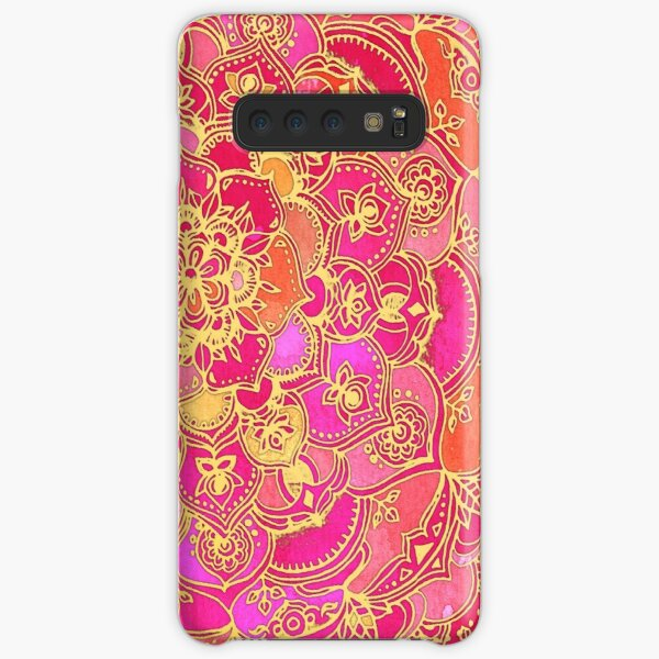 Hot Pink and Gold Baroque Floral Pattern Samsung Galaxy Snap Case