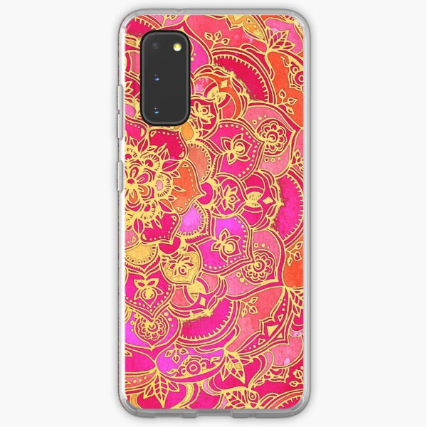 Hot Pink and Gold Baroque Floral Pattern Samsung Galaxy Soft Case